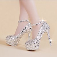 Wholesale Princess White High Heels - Hot Elegant Bridal Wedding Shoes Ankle Strappy Crystal High Heel Shoes Rhinestone Pearl Sparkling Wedding Nightclub Princess Shoes Silver