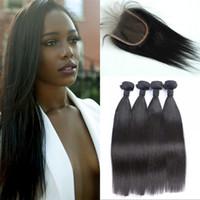 cierre de pelo virgen europeo al por mayor-Paquete de cabello humano con cierre de encaje 4pcs Pelo virginal directo de Europa teje con cierre 4x4 Se puede teñir FDSHINE