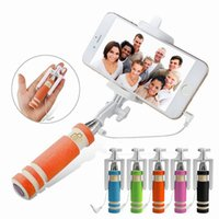 Wholesale wired monopod resale online - NEW Foldable Super Mini Wired Selfie Stick Handheld Extendable Monopod Built in Bluetooth Shutter Non slip Handle Compatible with phone