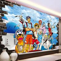 Wholesale japanese mural - One Piece Photo wallpaper Custom 3D Wallpaper Japanese anime Wall Murals Cartoon Kids Bedroom TV backdrop wall Art Room decor Monkey D Luffy