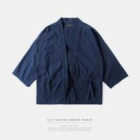moda kimono negro al por mayor-Mens kimono ropa japonesa streetwear moda casual kanye west negro kimonos chaquetas harajuku japón estilo rebeca outwear