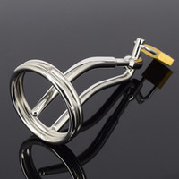 Wholesale Male Urethral Insertion Plugs - Male Urethral Sound Lock In Chastity Device Cock Ring Penis plug Fetish Metal Sex Toy Urethral Blockage Insertion Chastity Cage