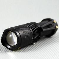 ingrosso torce elettriche da logo-Torcia a LED UltraFire Mini Pocket CREE Q5 7W 300Lampada Torcia a 3 LED Zoom torcia logo torcia a led laser