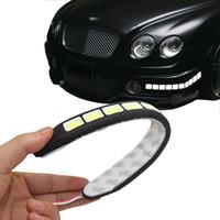 tag zeit geführt großhandel-10 SMD Biegsame geführte Tagfahrlicht 100% wasserdichte COB Tageszeit beleuchtet flexibles LED Auto DRL Fahrlicht Nebelscheinwerfer