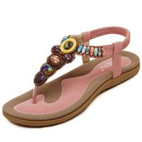 Wholesale Beaded Flip Flop Slippers - Wholesale- Size 36-42 2016 Bohemian Women Sandals Gemstone Beaded Slippers Summer Beach Sandals Women Flip Flops Ladies Flat Sandals Shoes