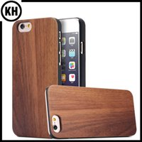 For Samsung black walnut shell - Natural Genuine True Walnut Wood Bamboo Case Wooden Smartphone Cover For iPhone6 iPhone6 Plus S Plus Plus Plastic Edge protection shell