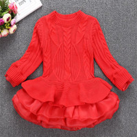 Wholesale Knitted Baby Halloween Costumes - Party Dress Kids Girl Stripe Ruffle Dresses 2-7Year Princess Baby Girls Knit Sweater Dress Costume 2017 Autumn Children Clothes B896