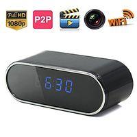 Wholesale Mini Table Clocks - 1080P Wifi Table Clock IP P2P Hidden Camera Clock Spy Camera Video Recorder with 12pcs Night Vision Light Motion Detection Spy Cam Mini DVR
