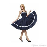 Wholesale Rockabilly Halter - Audrey Hepburn Dress Summer Vintage Big Swing Dress Casual Solid Color Sleeveless Rockabilly Dress free shipping