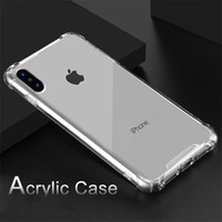 Wholesale Cell Phone Case Note - Acrylic Shockproof Case for iPhone X TPU Clear Luxury Transparent Cell Phone Cover for iPhone 8 7 6 Samsung Galaxy Note 8