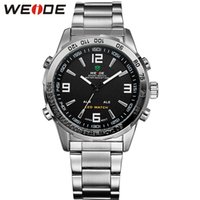 Wholesale Weide Time Zone Watches - Deluxe WEIDE Men's Analog LED Digital Date Dual Display Quartz Watch LED wristwatch men clock Relogio Masculino