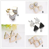 Wholesale Square Stud Charm - New Natural White Turquoise Stone Gold Howlite Square Round Triangle Geometry Stud Earring For Women Fine Jewelry brincos bijoux
