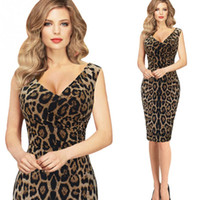 Wholesale Cat Dress Womens - 2017 Womens Elegant Autumn Leopard Cat Print Sexy V Neck Slim Casual Party Club Pencil Sheath Dress