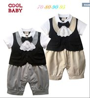 Wholesale Male Infant Clothes - 2016 new Summer male baby short sleeve climb clothes leotard newborn boys infant gentleman tie Romper,4pcs