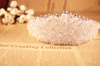 Wholesale Full Hairbands - Luxury Full Transparent Crystal Tiaras Wedding Accessories Bridal 2016 Beads Crystal Bridal Hair Embellishments in Silver O325