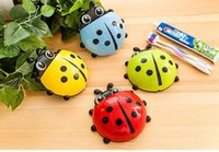 Wholesale Toothbrush Rack Portable - Animal cartoon ladybug toothbrush holder toothbrush rack portable suction toothbrush holder with silicon sucker 4 colors free shipping