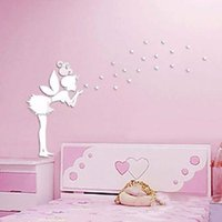 Wholesale fairy mirror wall stickers resale online - Angel Magic Fairy Stars D Mirror Wall Sticker Kids Bedroom Decoration Gift Creative Little Girl Wall Sticker for Home House