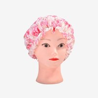 Wholesale Bath Caps For Women - 250pcs Rose Pattern Desing Shower Caps Women Lady Waterproof Elastic Band Bathing Hat For Makeup Spa Bath Accessories ZA0628