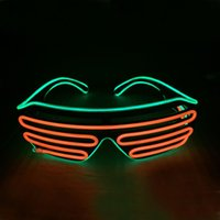 Colore rosso-verde Glow LED EL Occhiali da sole Wire Light Up Shades Flashing Rave Festival Party Bright