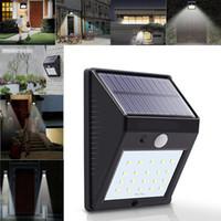 luces led canal al por mayor-20 LED Solar Power Spot Sensor de Movimiento Lámpara de Pared de Seguridad Al Aire Libre Lámpara de Seguridad Gutter Impermeable Lámparas de Seguridad WX9-175