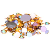 Wholesale Nail Art 5mm - Gold AB Acrylic Rhinestones For 3D Nails Art 4mm 5mm 6mm 10mm And Mixed Sizes Flatback Pointed Glue On Stones DIY Crafts Designs