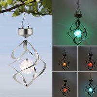 New Color Changing Solar Powered LED Wind Chimes Vento Spinner Outdoor Hanging Spiral Garden Luz Courtyard Decoração