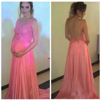 Wholesale Sheer Coral Dress - 2016 Sheer Shoulder Chiffon Maternity Evening Dresses Lace Appliques Sweep Train A Line Coral Bodice Prom Party Dresses Online