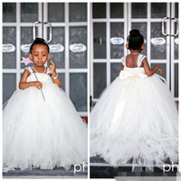 Wholesale Cheap Toddler Girls Skirts - White Princess Cheap Flower Girls Dresses 2016 Spaghetti Tulle Cute Ball Gown Kids Wedding Party Wear Floor Length Small Bridesmaid Skirt
