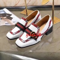Wholesale Low Heel Dress Shoes Wedding - White Black Square toe Wedding Party Shoes Low Heels Real leather Rivets Metal G Hot Female Dress Shoes