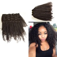 Wholesale Kinky Curly Afro American Hair - African American Clip in Human Hair extension Peruvian Virgin Hair afro Kinky Curly Unprocessed Virgin Hair Natural Color G-EASY