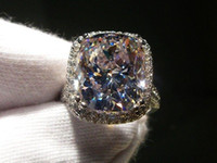 joyas de oro de 14kt al por mayor-Victoria Wieck Nueva marca de joyería 14KT de oro blanco llena 8CT Big Topaz Simulated Diamond Wedding Band de compromiso anillos para mujer talla 5-11