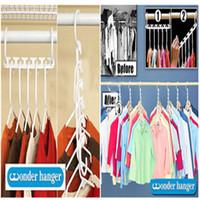 Wholesale Wholesale Closet - 8pieces 1set Space Saver Wonder Magic Hanger Clothes Closet Organizer Hook Drying Rack Multi-Function Clothing Storage Racks