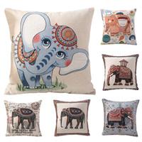 Wholesale Christmas Decorative Throw Pillows - muchun Brand Colorful Elephant Christmas Spandex Sofa Throw Pillow Cover 45*45 cm Halloween Extra-Thick Decorative Pillow Case