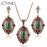 Ensembles de bijoux nuptiales africains Vintage Cheap Fashion Green Eye Crystal Gold-Color Ethnique Jewelry Earrings Necklaces Set
