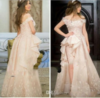 Wholesale Layered Chiffon High Low Dress - Fashion Light Pink Prom Dresses Off THE Shoulder Hand Made Applqiues 3d Floral High Low Party Gowns Layered Ruffles Prom Gowns