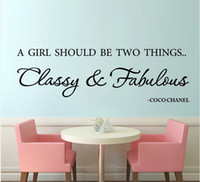 "Wholesale Classy Quote - ""A girl should be classy and fabulous"" English famous quote removable Vinyl wall decals sticker for girls room wall decor"