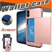 Wholesale Wholesale Soft Slide - Slide Card Slot Wallet Case Hybrid PC Soft TPU Armor Case Dual Layer Protector Cover For iPhone X 8 7 Plus 6 6S Samsung Note 8 S8 S7 Edge