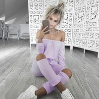 Wholesale Green Rompers - 6 Colors Autumn Off Shoulder Long Jumpsuit Women Rompers Sexy Hollow Out Lace Up Slim Bodysuit Overalls Plus Size Playsuit