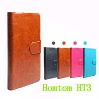 Wholesale Track Phone Cases - in stock ! Flip PU Leather Cover Case For Homtom HT3 Original Cell Phone Holster (Gift HD Film + Touch Pen + Tracking)
