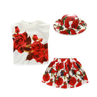 Wholesale Rose Print Skirt - PrettyBaby 2016 summer girls three-pieces sets hat+T-shirt+skirt rose printed sleeveless floral style cotton kids clothes free shipping