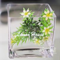 Bamboo & Wooden square cylinder vases - Glass cylinder Square crystal vase Hydroponic flower Transparent basin fish