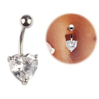 Wholesale Heart Shaped Belly Button Rings - 316L Surgical Steel Zircon Heart Shaped Belly Button Rings Navel Bar Rings Piercing Body Jewelry Gold Plated