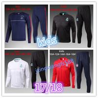 Wholesale Sport Wear Kids Boy - Ajax 2017 2018 Kids Long Sleeve Real Madrid Tracksuit Jogging Boys Soccer kit 17 18 Youth Sport Wear Children Ronaldo training suit