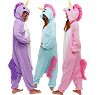 Wholesale Adult Kigurumi Onesies - HappyBuy Kigurumi Animal Onesie Rainbow Pony Adult Onesie Pajamas Hooded All In One Sleepwear Animal Pajamas Fleece One Piece Pajama