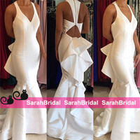 Wholesale White Formal Dresses For Sale - Satin Long Prom Dresses with Fit and Flare Ruffled Back Skirt for 2016 Special Occasion Formal Event Wear Sale Cheap Trumpet Evening Gowns
