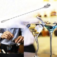 Le Cocktail Remue Pas Cher-150pcs 31.5cm Acier inoxydable Cocktail Drink Mixer Bar Puddler Muddler agitation Cuillère Louche Agitateur Swizzle Sticks Picks ZA0559