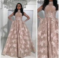 Wholesale Gold Evening Belts - 2017 Sexy Ball Gown Prom Dresses High Neck Long Sleeves Appliqued Nude Evening Gowns with Fixed Overskirt and Belts Sheer Pageant Dresses