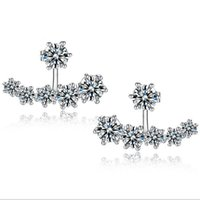 Wholesale Snow Flower Girl - Top Grade Silver Earrings Girl Hot Sale Crystal Snow Stud Earrings for Wedding Party Fashion Jewelry Wholesale Free Shipping - 0033WH