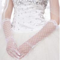Wholesale Women Wedding Veils - High Quality Handmade Elegant White Bridal Veils Long Wedding Gloves Women With Finger Luva Para Casamento Elbow Bridal Gloves free shipping
