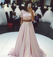 Wholesale Evening Silk Top - 2016 Wholesale Crop Top Two Piece Prom Dresses Real Picture Sexy Sheer Lace Applique Jewel Neck Short Sleeve Blush A-Line Long Evening Dress